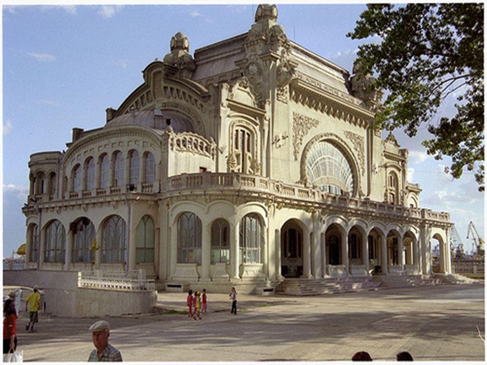 Romania, winter white sea at the old Casino Constanta