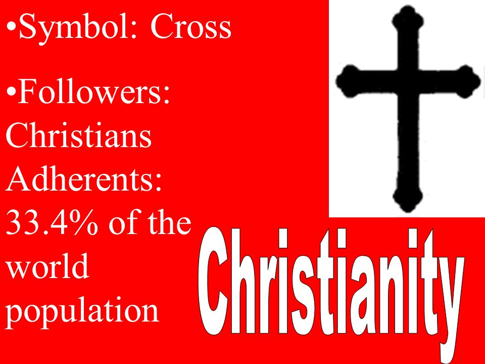 Symbol: Cross Followers: Christians Adherents: 33.4% of the world population