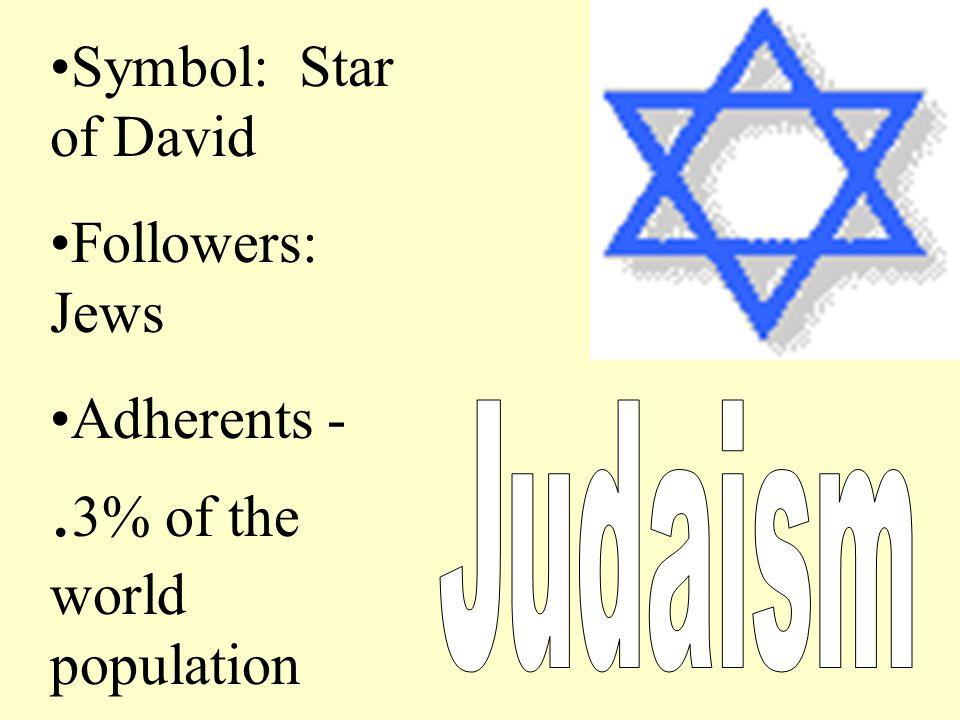 Symbol: Star of David Followers: Jews Adherents -. 3% of the world population