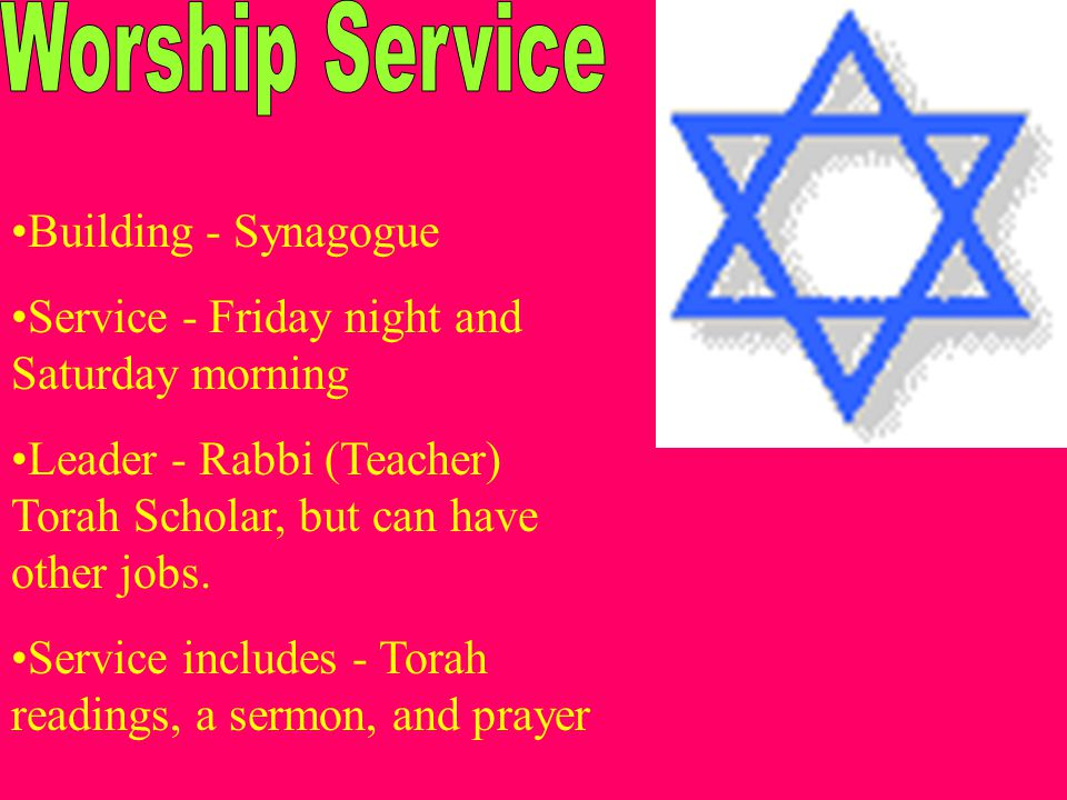 Building - Synagogue Service - Friday night and Saturday morning Leader - Rabbi (Teacher) Torah Scholar, but can have other jobs.