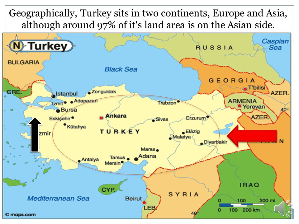 Geographically, Turkey sits in two continents, Europe and Asia, although around 97% of it s land area is on the Asian side.