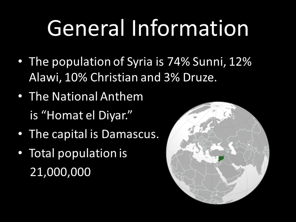 General Information The population of Syria is 74% Sunni, 12% Alawi, 10% Christian and 3% Druze.