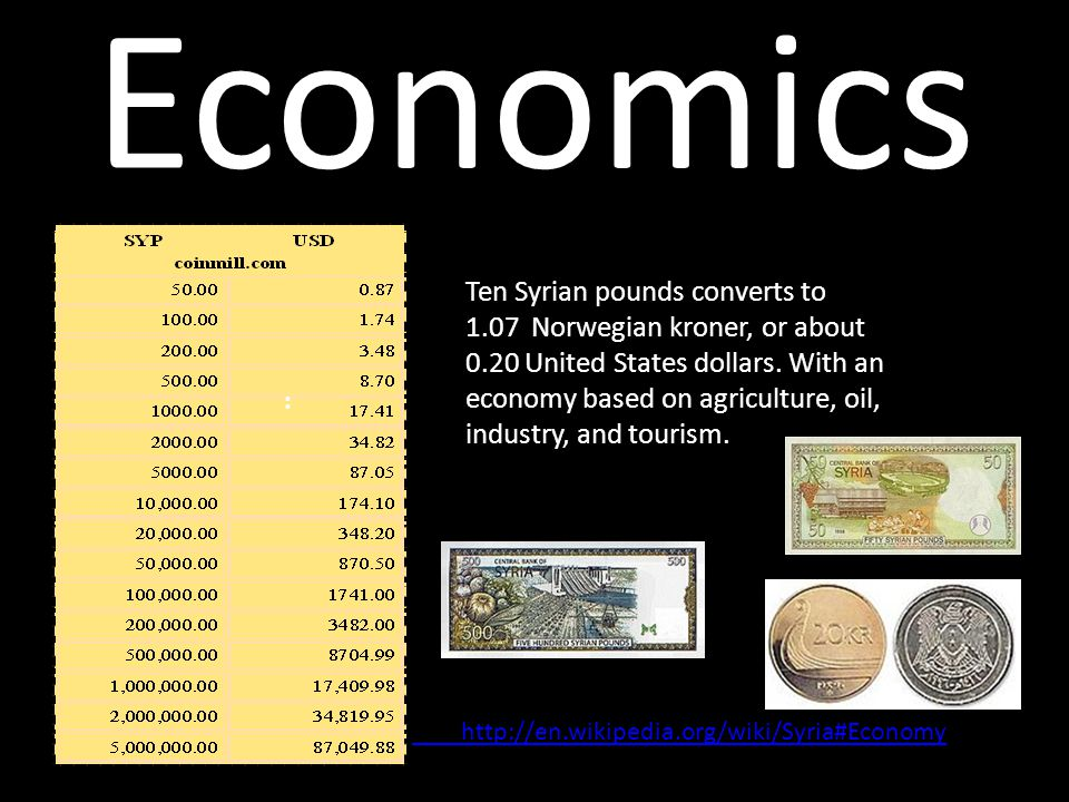 Economics Ten Syrian pounds converts to 1.07 Norwegian kroner, or about 0.20 United States dollars.