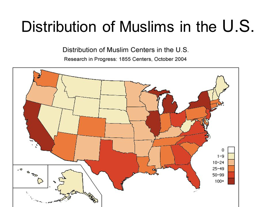 Distribution of Muslims in the U.S.