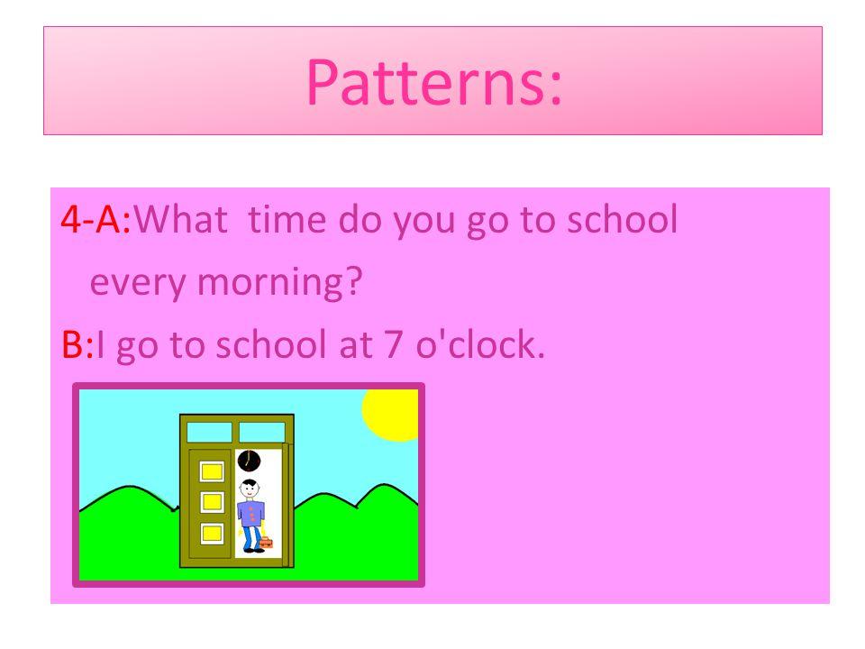 Patterns: 3- A:Where do you live? B:I live in Rasht.