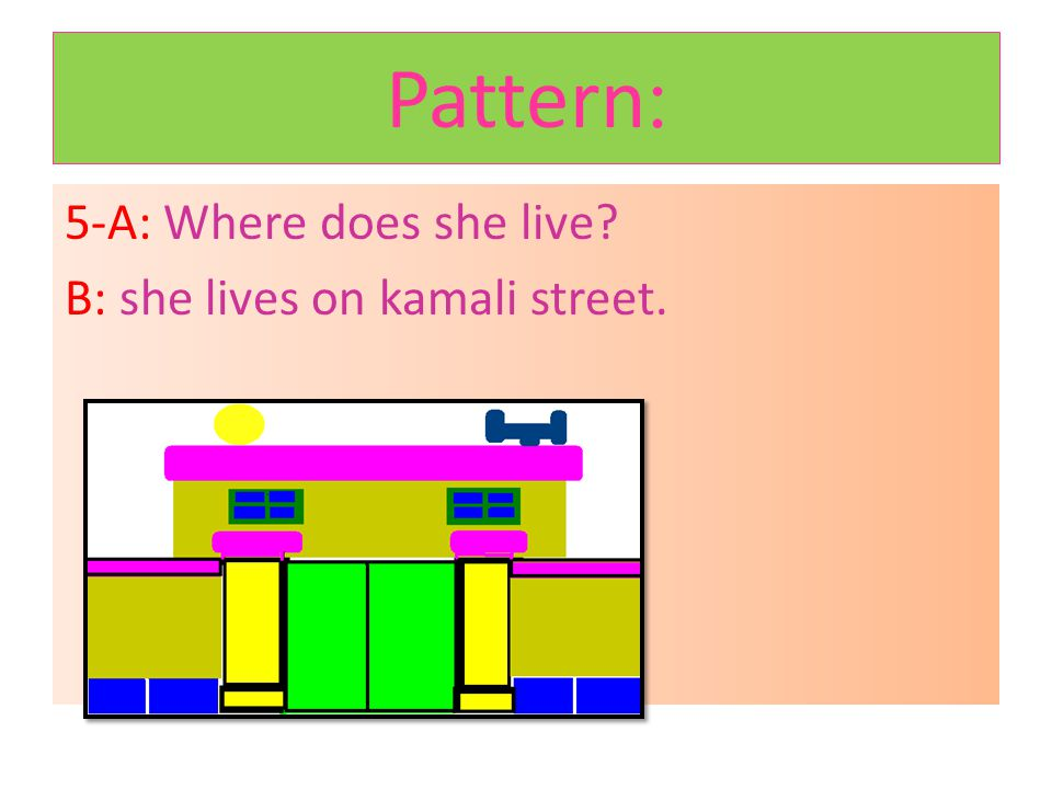 Patterns: 4-A:What time do you go to school every morning? B:I go to school at 7 o clock.