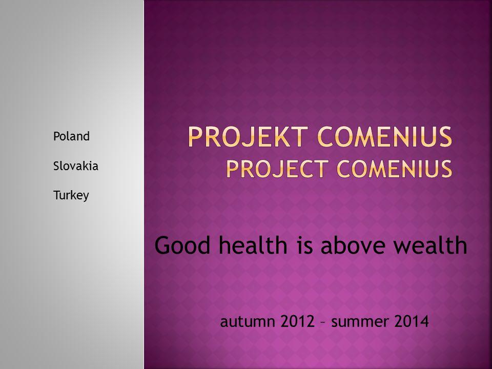 autumn 2012 – summer 2014 Good health is above wealth Poland Slovakia Turkey