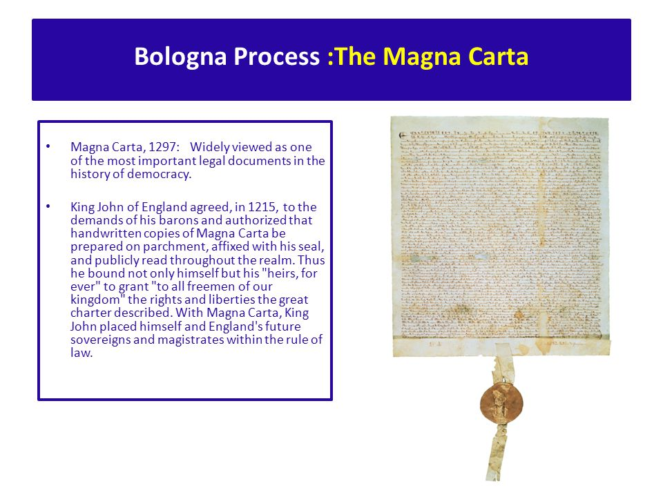 The document, drafted in Barcelona in January 1988, was signed by all the Rectors who were in Bologna to celebrate the 900th Anniversary of the Alma Mater On 18 September 1988 some 386 rectors from universities worldwide signed the Magna Charta Universitatum.