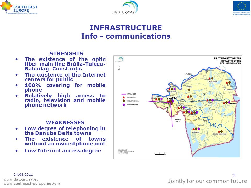 INFRASTRUCTURE Info - communications STRENGHTS The existence of the optic fiber main line Brăila-Tulcea- Babadag- Constanţa.