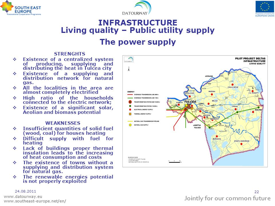 INFRASTRUCTURE Living quality – Public utility supply The power supply STRENGHTS  Existence of a centralized system of producing, supplying and distributing the heat in Tulcea city  Existence of a supplying and distribution network for natural gas.
