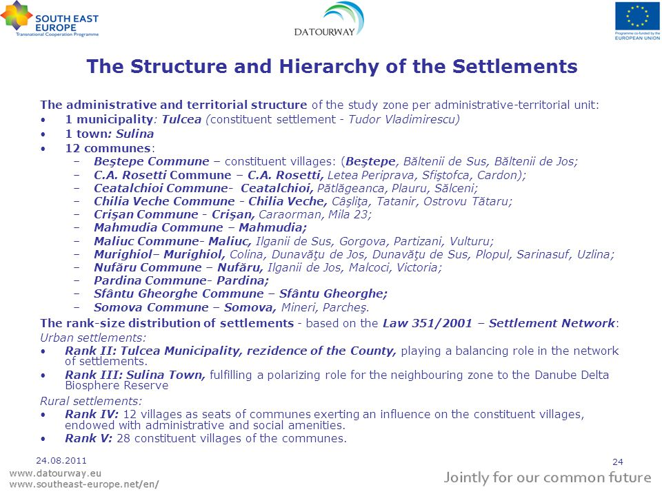 The Structure and Hierarchy of the Settlements The administrative and territorial structure of the study zone per administrative-territorial unit: 1 municipality: Tulcea (constituent settlement - Tudor Vladimirescu) 1 town: Sulina 12 communes: –Beştepe Commune – constituent villages: (Beştepe, Băltenii de Sus, Băltenii de Jos; –C.A.