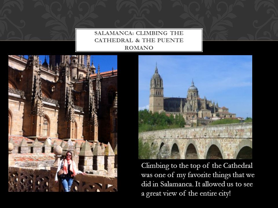 SALAMANCA: CLIMBING THE CATHEDRAL & THE PUENTE ROMANO Climbing to the top of the Cathedral was one of my favorite things that we did in Salamanca.