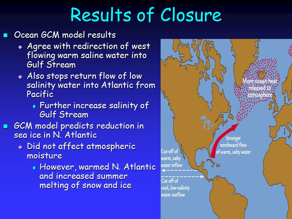 Results of Closure Ocean GCM model results Ocean GCM model results  Agree with redirection of west flowing warm saline water into Gulf Stream  Also stops return flow of low salinity water into Atlantic from Pacific  Further increase salinity of Gulf Stream GCM model predicts reduction in sea ice in N.