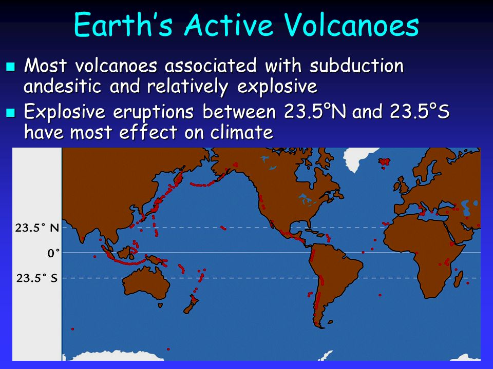 Earth's Active Volcanoes Most volcanoes associated with subduction andesitic and relatively explosive Most volcanoes associated with subduction andesitic and relatively explosive Explosive eruptions between 23.5°N and 23.5°S have most effect on climate Explosive eruptions between 23.5°N and 23.5°S have most effect on climate