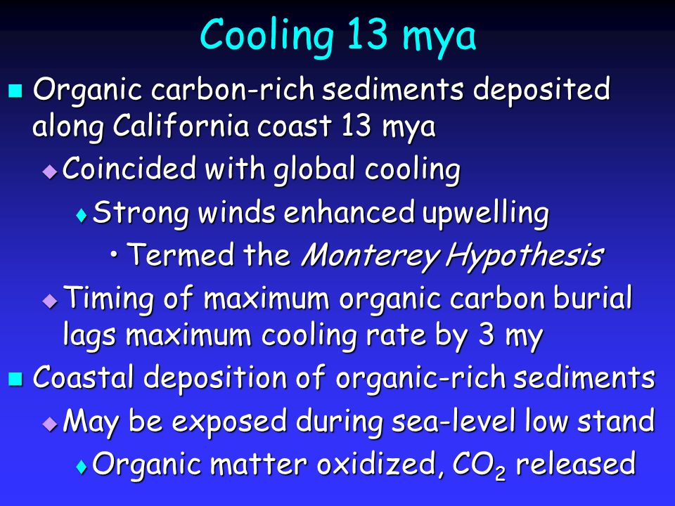 Cooling 13 mya Organic carbon-rich sediments deposited along California coast 13 mya Organic carbon-rich sediments deposited along California coast 13 mya  Coincided with global cooling  Strong winds enhanced upwelling Termed the Monterey HypothesisTermed the Monterey Hypothesis  Timing of maximum organic carbon burial lags maximum cooling rate by 3 my Coastal deposition of organic-rich sediments Coastal deposition of organic-rich sediments  May be exposed during sea-level low stand  Organic matter oxidized, CO 2 released