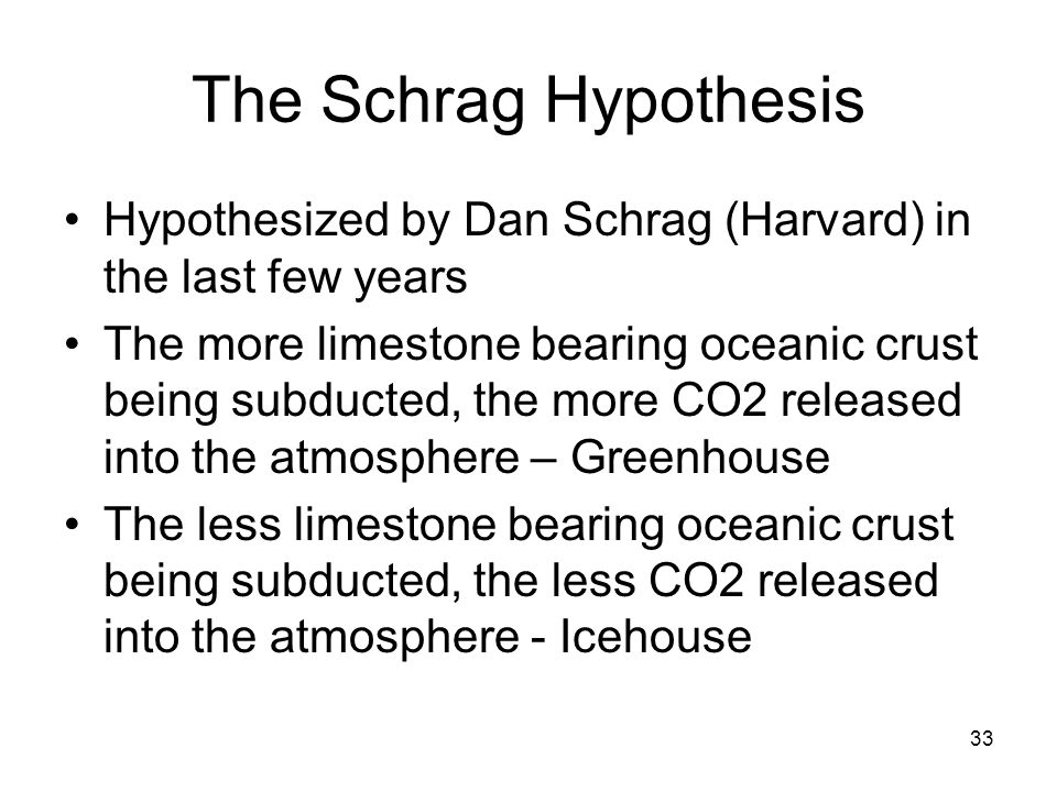 33 The Schrag Hypothesis Hypothesized by Dan Schrag (Harvard) in the last few years The more limestone bearing oceanic crust being subducted, the more
