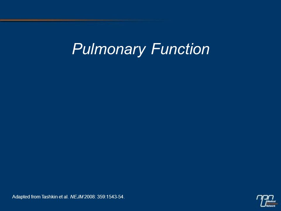 Pulmonary Function Adapted from Tashkin et al. NEJM 2008: 359:1543-54.