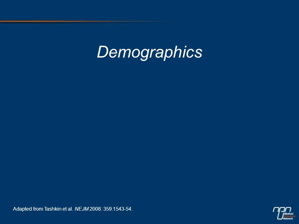 Demographics Adapted from Tashkin et al. NEJM 2008: 359:1543-54.