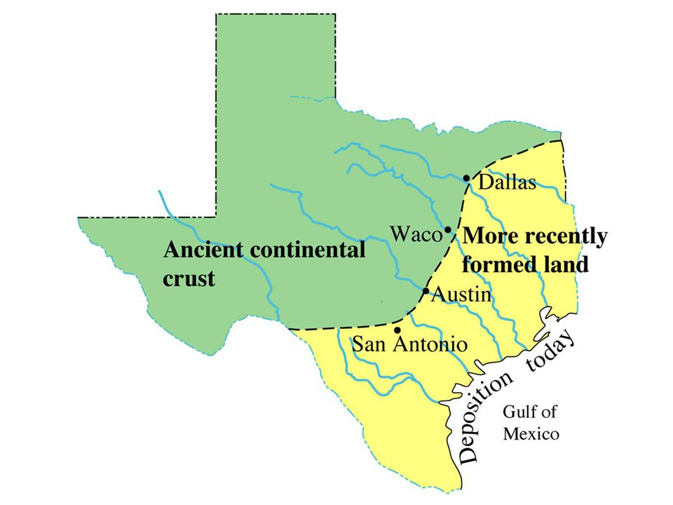image 1 - Two divisions of Texas along an S-shape line that passes through Austin