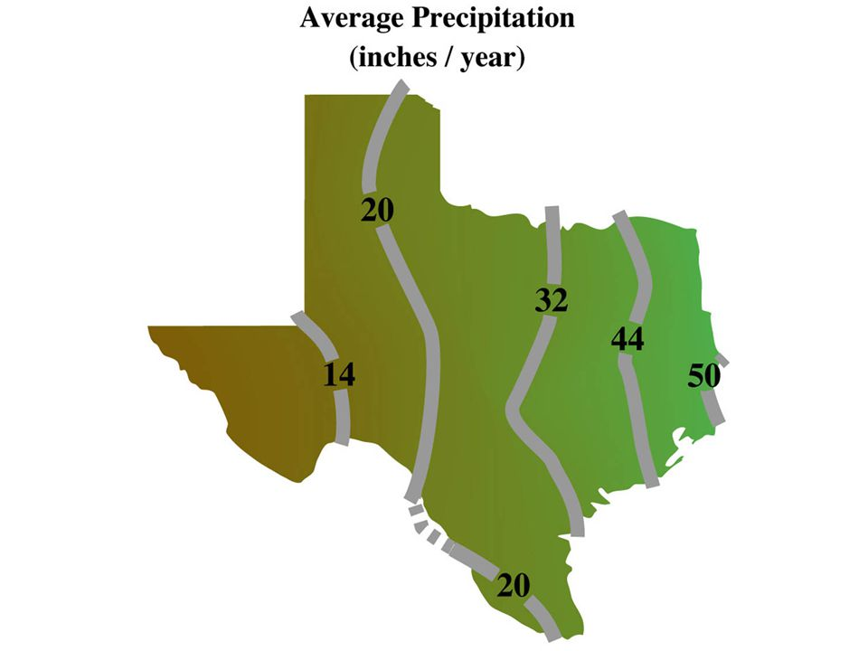 image 2 - Texas average annual rainfall; climatic impact on the landscape