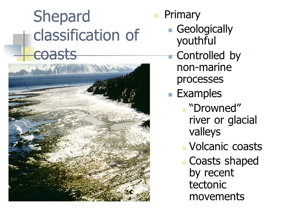 Shepard classification of coasts Primary Geologically youthful Controlled by non-marine processes Examples Drowned river or glacial valleys Volcanic coasts Coasts shaped by recent tectonic movements