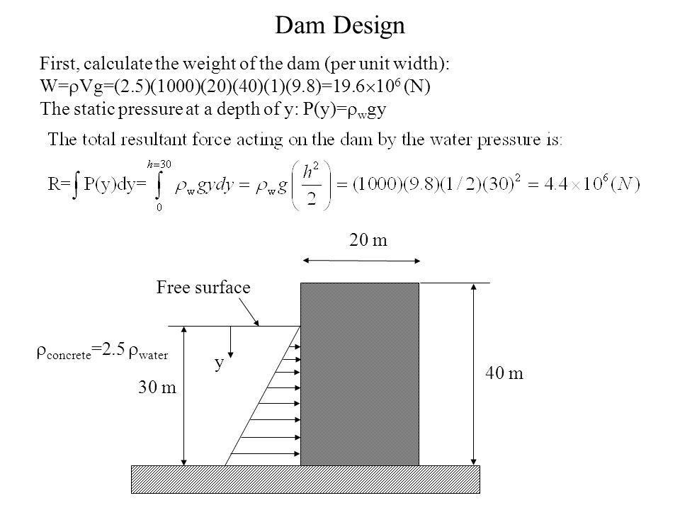 Dam Design 30 m 40 m 20 m  concrete =2.5  water First, calculate the weight of the dam (per unit width): W=  Vg=(2.5)(1000)(20)(40)(1)(9.8)=19.6 