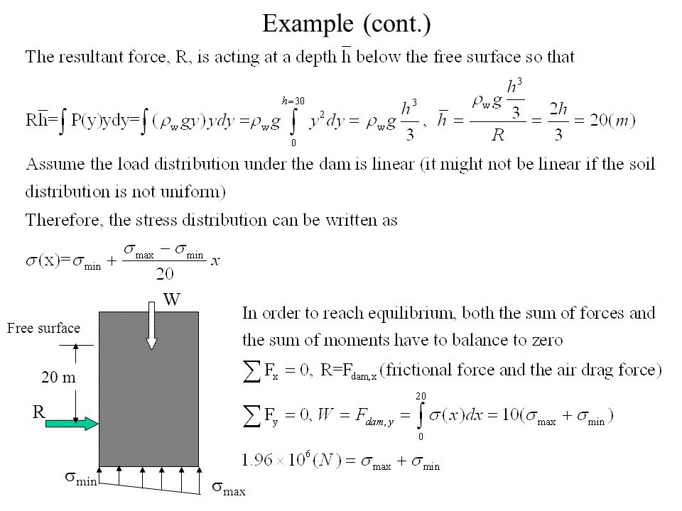 Example (cont.) R W 20 m  min  max Free surface