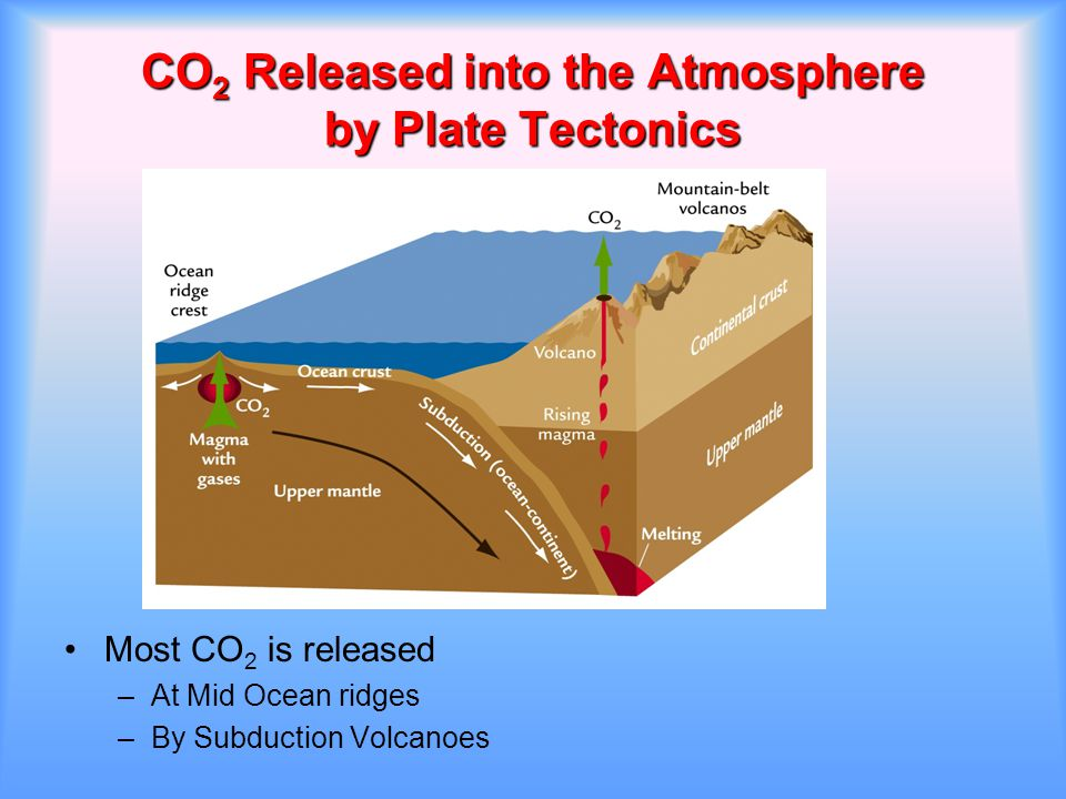 CO 2 Released into the Atmosphere by Plate Tectonics Most CO 2 is released –At Mid Ocean ridges –By Subduction Volcanoes