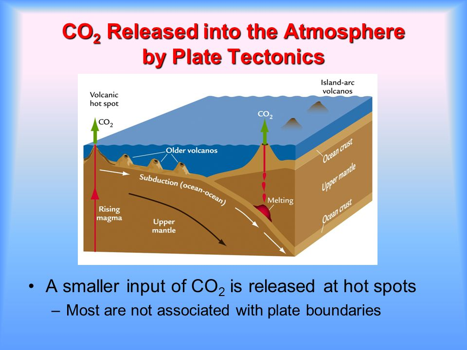 CO 2 Released into the Atmosphere by Plate Tectonics A smaller input of CO 2 is released at hot spots –Most are not associated with plate boundaries