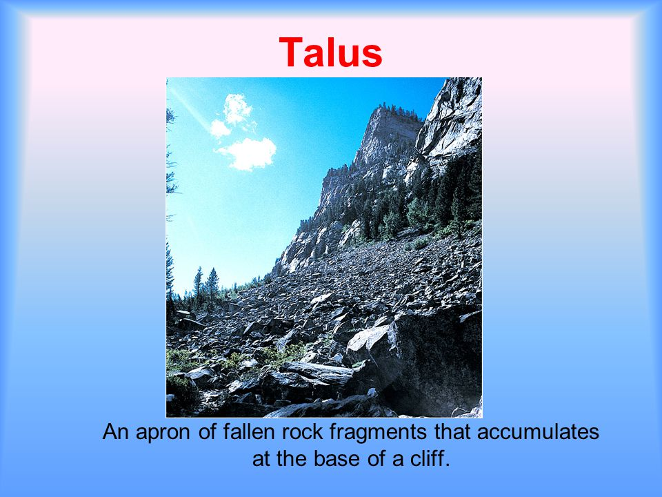 Talus An apron of fallen rock fragments that accumulates at the base of a cliff.