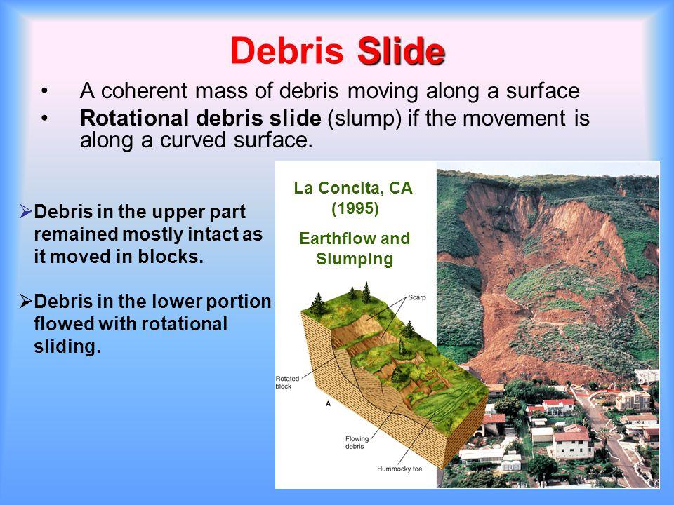 Slide Debris Slide A coherent mass of debris moving along a surface Rotational debris slide (slump) if the movement is along a curved surface. La Conc