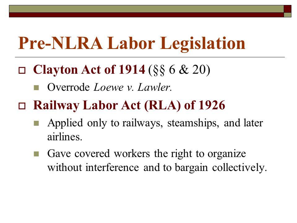 Pre-NLRA Labor Legislation  Clayton Act of 1914 (§§ 6 & 20) Overrode Loewe v.