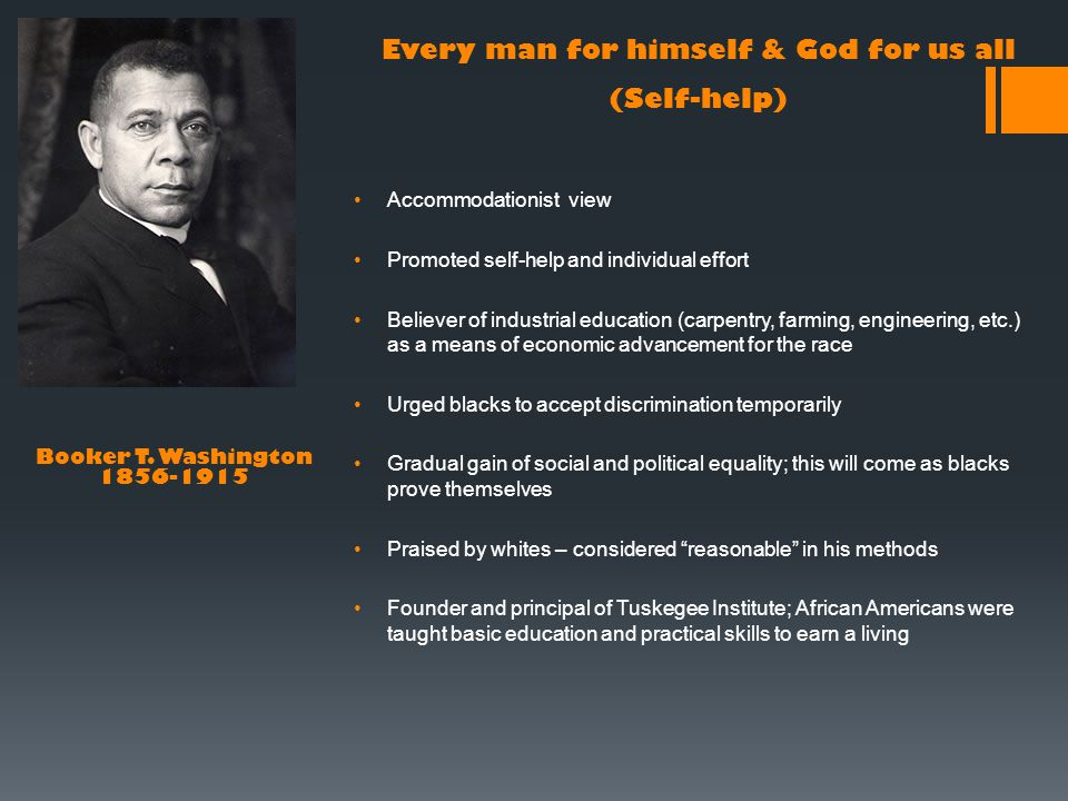 Accommodationist view Promoted self-help and individual effort Believer of industrial education (carpentry, farming, engineering, etc.) as a means of economic advancement for the race Urged blacks to accept discrimination temporarily Gradual gain of social and political equality; this will come as blacks prove themselves Praised by whites – considered reasonable in his methods Founder and principal of Tuskegee Institute; African Americans were taught basic education and practical skills to earn a living Booker T.