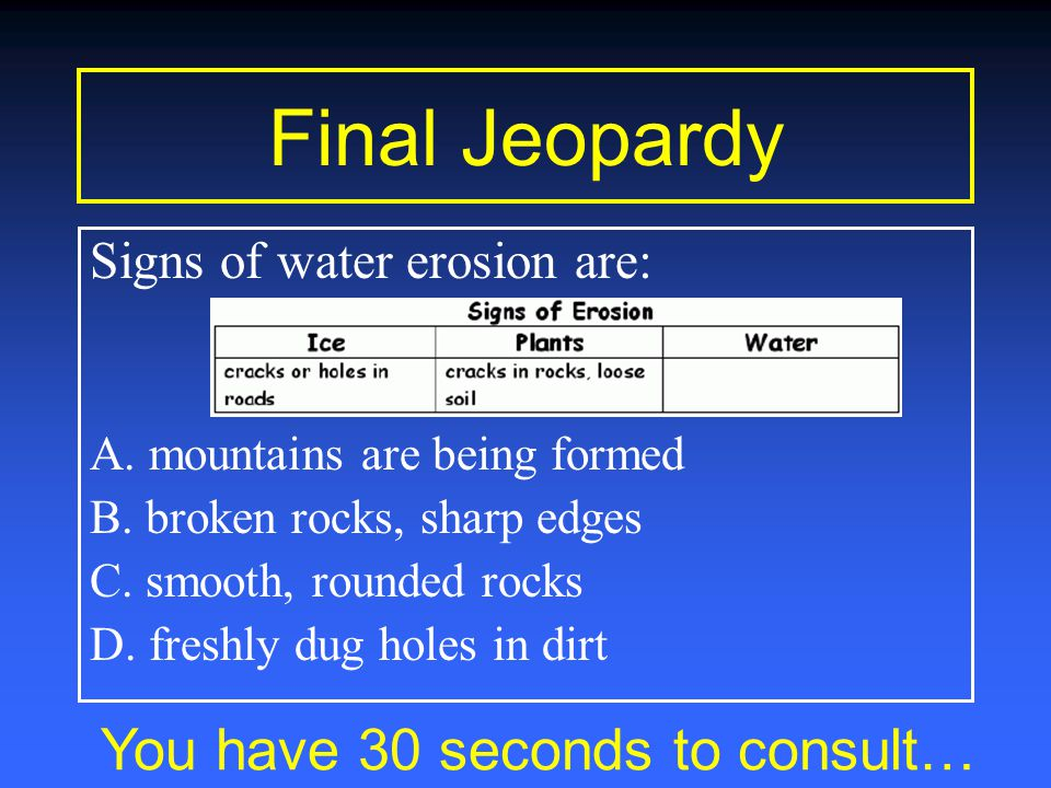 Final Jeopardy You have 1 minute to consult… Signs of water erosion are: A.