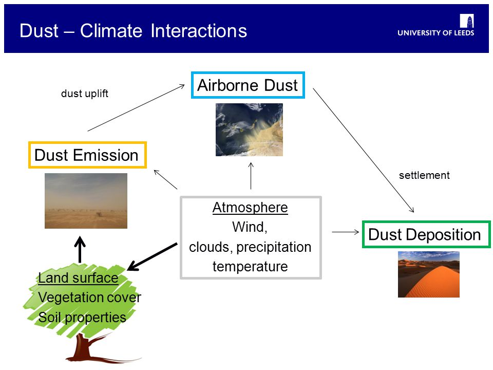 Dust – Climate Interactions Dust Emission Airborne Dust dust uplift Dust Deposition settlement Atmosphere Wind, clouds, precipitation temperature Land surface Vegetation cover Soil properties