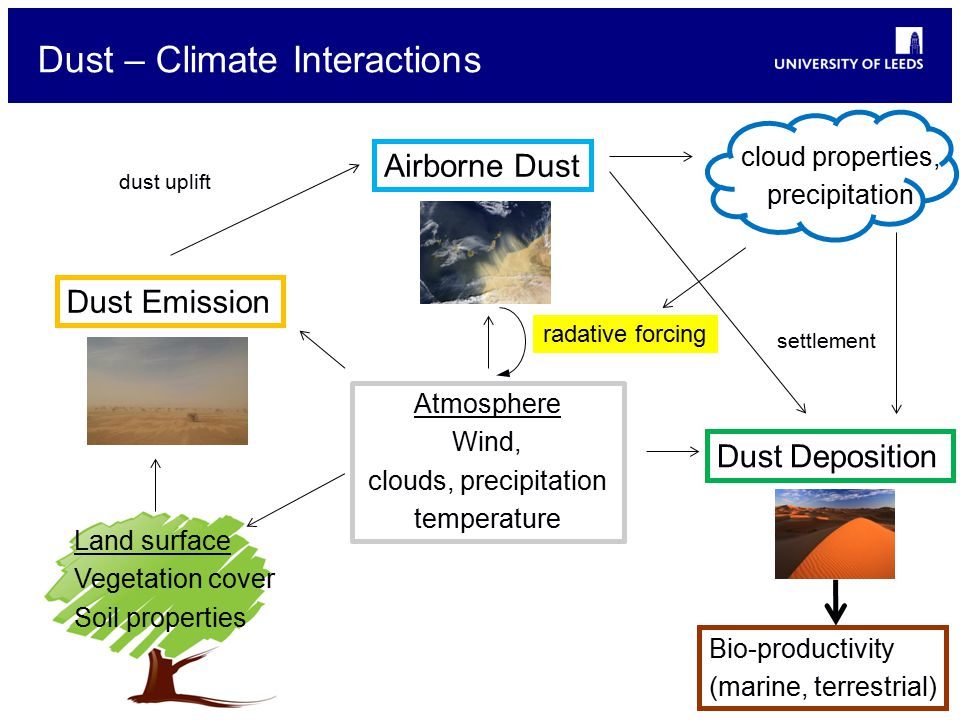 Dust – Climate Interactions Dust Emission Airborne Dust dust uplift Dust Deposition settlement Atmosphere Wind, clouds, precipitation temperature Land surface Vegetation cover Soil properties radative forcing cloud properties, precipitation Bio-productivity (marine, terrestrial)