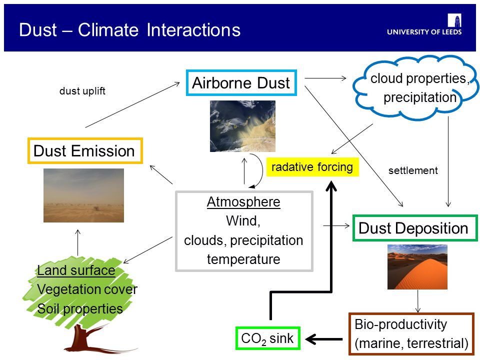 Dust – Climate Interactions Dust Emission Airborne Dust dust uplift Dust Deposition settlement Atmosphere Wind, clouds, precipitation temperature Land surface Vegetation cover Soil properties radative forcing cloud properties, precipitation Bio-productivity (marine, terrestrial) CO 2 sink