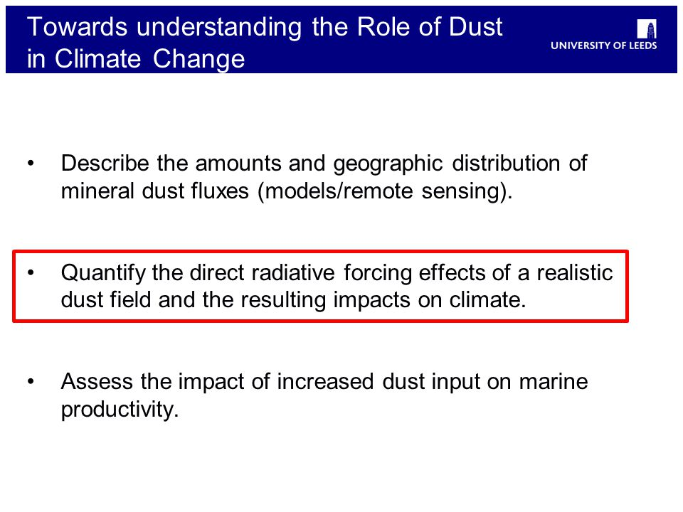 Towards understanding the Role of Dust in Climate Change Describe the amounts and geographic distribution of mineral dust fluxes (models/remote sensing).