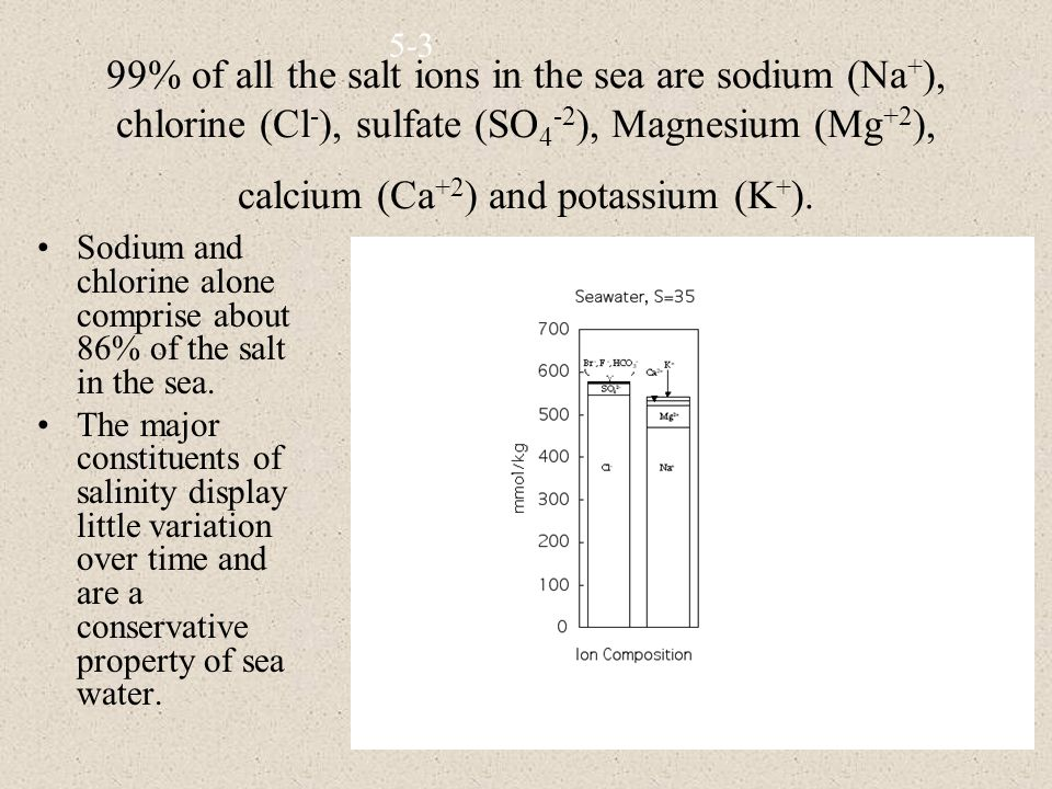 99% of all the salt ions in the sea are sodium (Na + ), chlorine (Cl - ), sulfate (SO 4 -2 ), Magnesium (Mg +2 ), calcium (Ca +2 ) and potassium (K + ).