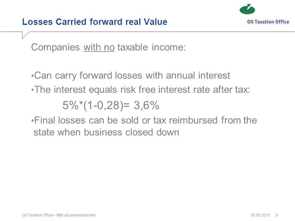05.05.2015Oil Taxation Office – tittel på presentasjonen5 Losses Carried forward real Value Companies with no taxable income: Can carry forward losses
