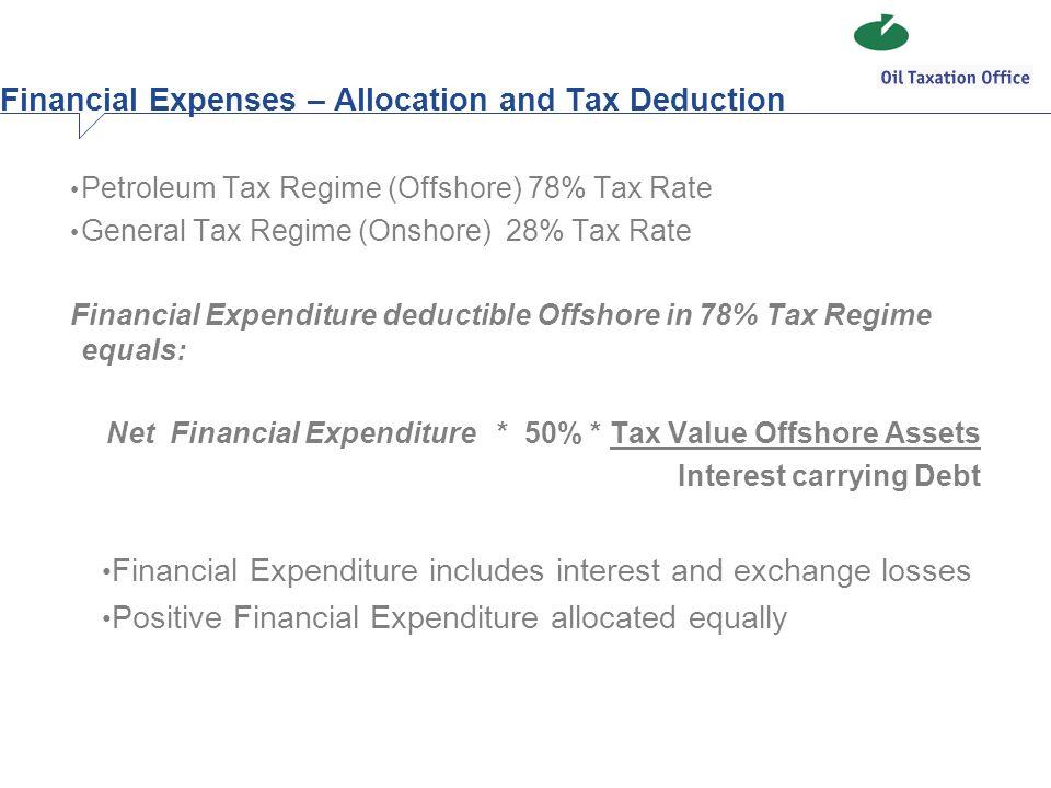 Petroleum Tax Regime (Offshore) 78% Tax Rate General Tax Regime (Onshore) 28% Tax Rate Financial Expenditure deductible Offshore in 78% Tax Regime equ