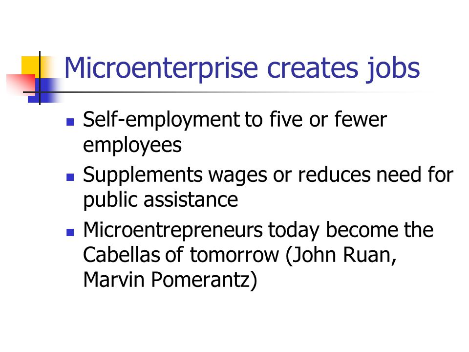 Microenterprise creates jobs Self-employment to five or fewer employees Supplements wages or reduces need for public assistance Microentrepreneurs today become the Cabellas of tomorrow (John Ruan, Marvin Pomerantz)