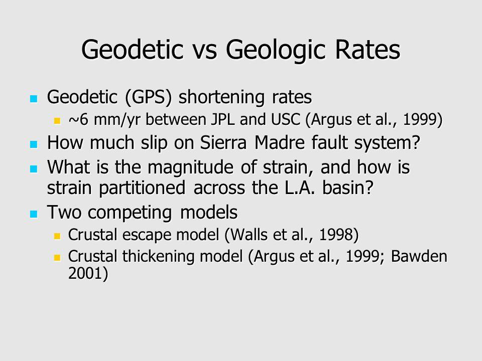 Geodetic vs Geologic Rates Geodetic (GPS) shortening rates Geodetic (GPS) shortening rates ~6 mm/yr between JPL and USC (Argus et al., 1999) ~6 mm/yr between JPL and USC (Argus et al., 1999) How much slip on Sierra Madre fault system.