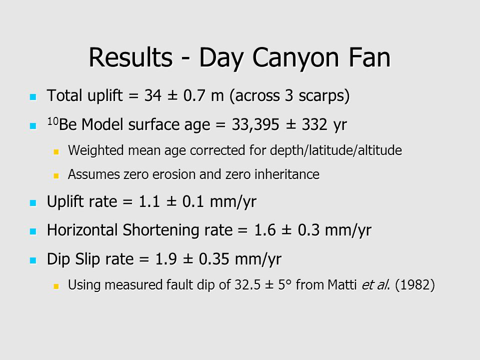 Results - Day Canyon Fan Total uplift = 34 ± 0.7 m (across 3 scarps) Total uplift = 34 ± 0.7 m (across 3 scarps) 10 Be Model surface age = 33,395 ± 332 yr 10 Be Model surface age = 33,395 ± 332 yr Weighted mean age corrected for depth/latitude/altitude Weighted mean age corrected for depth/latitude/altitude Assumes zero erosion and zero inheritance Assumes zero erosion and zero inheritance Uplift rate = 1.1 ± 0.1 mm/yr Uplift rate = 1.1 ± 0.1 mm/yr Horizontal Shortening rate = 1.6 ± 0.3 mm/yr Horizontal Shortening rate = 1.6 ± 0.3 mm/yr Dip Slip rate = 1.9 ± 0.35 mm/yr Dip Slip rate = 1.9 ± 0.35 mm/yr Using measured fault dip of 32.5 ± 5° from Matti et al.
