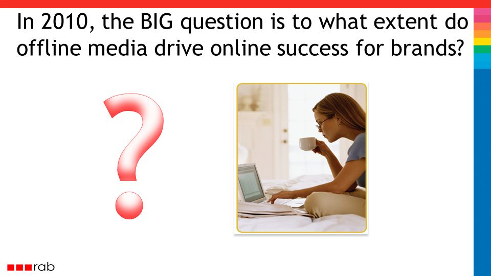In 2010, the BIG question is to what extent do offline media drive online success for brands