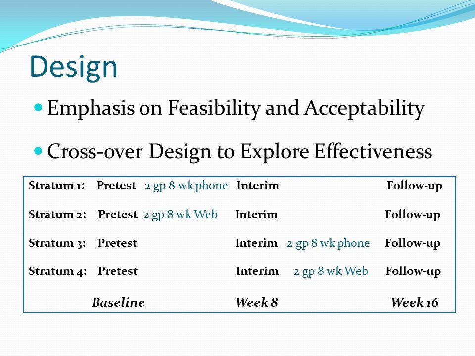 Design Stratum 1: Pretest 2 gp 8 wk phone Interim Follow-up Stratum 2: Pretest 2 gp 8 wk Web Interim Follow-up Stratum 3: Pretest Interim 2 gp 8 wk ph