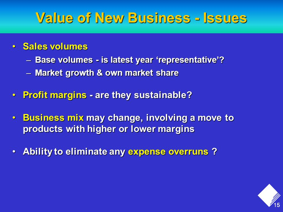 15 Value of New Business - Issues Sales volumesSales volumes –Base volumes - is latest year 'representative'.