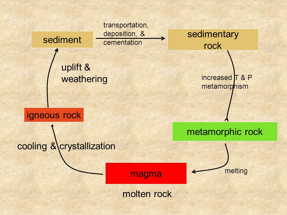 magma molten rock igneous rock uplift & weathering cooling & crystallization sediment sedimentary rock transportation, deposition, & cementation metamorphic rock increased T & P metamorphism melting