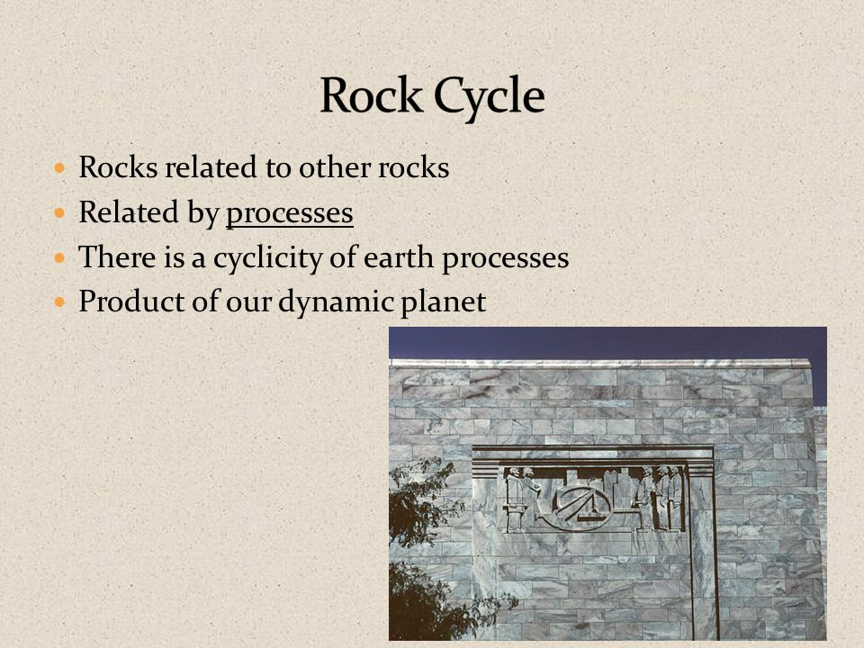 Rocks related to other rocks Related by processes There is a cyclicity of earth processes Product of our dynamic planet