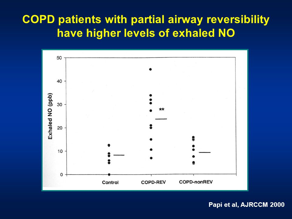 Papi et al, AJRCCM 2000 COPD patients with partial airway reversibility have higher levels of exhaled NO